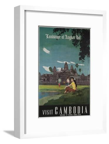 Landscape of Angkor Wat, Visit Cambodia 1950s Travel Poster--Framed Art Print