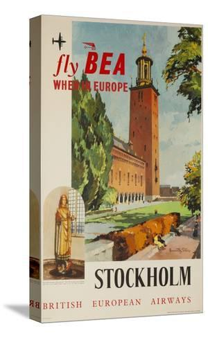 Fly Bea When in Europe, Stockholm Travel Poster--Stretched Canvas Print