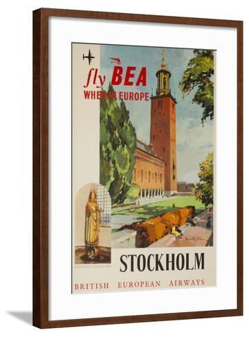 Fly Bea When in Europe, Stockholm Travel Poster--Framed Art Print