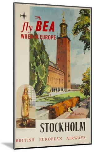 Fly Bea When in Europe, Stockholm Travel Poster--Mounted Giclee Print