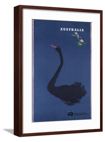 Australian Travel Board Travel Poster, Black Swann, Ca, 1950s--Framed Art Print