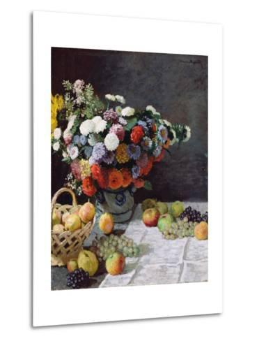 Still Life with Flowers and Fruit-Claude Monet-Metal Print