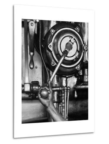 Industrial Worker with a Drill Press in Pennsylvania, Ca. 1912--Metal Print