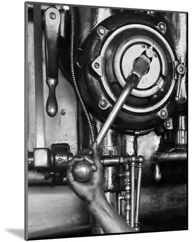 Industrial Worker with a Drill Press in Pennsylvania, Ca. 1912--Mounted Giclee Print