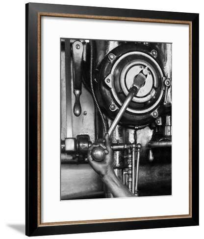 Industrial Worker with a Drill Press in Pennsylvania, Ca. 1912--Framed Art Print