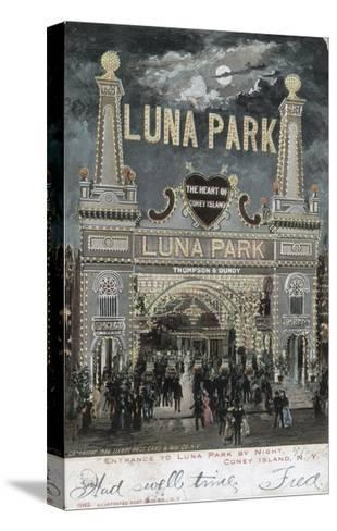 Postcard of Luna Park at Coney Island--Stretched Canvas Print
