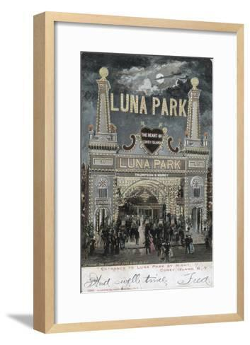Postcard of Luna Park at Coney Island--Framed Art Print