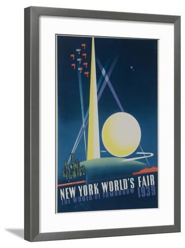 1939 New York World's Fair Poster, the World of Tomorrow, Blue--Framed Art Print