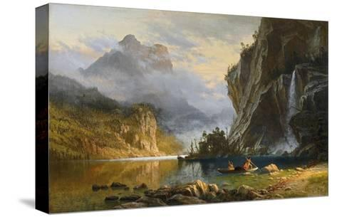 Indians Spearfishing-Albert Bierstadt-Stretched Canvas Print