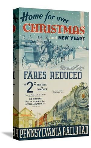 Pennsylvania Railroad Travel Poster, Home for Christmas--Stretched Canvas Print
