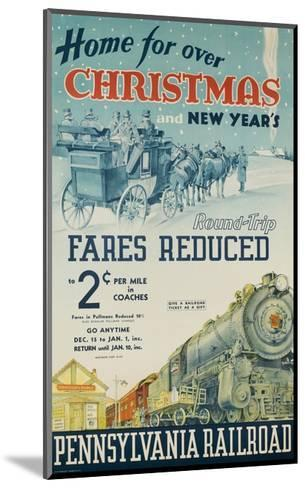 Pennsylvania Railroad Travel Poster, Home for Christmas--Mounted Giclee Print