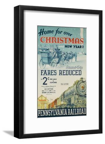 Pennsylvania Railroad Travel Poster, Home for Christmas--Framed Art Print