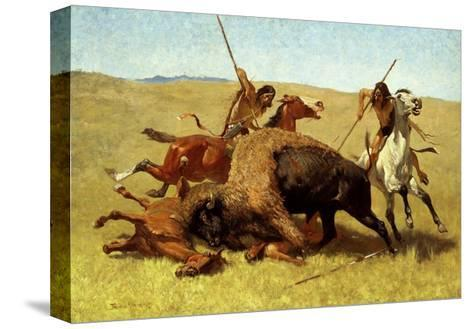The Buffalo Hunt-Frederic Sackrider Remington-Stretched Canvas Print