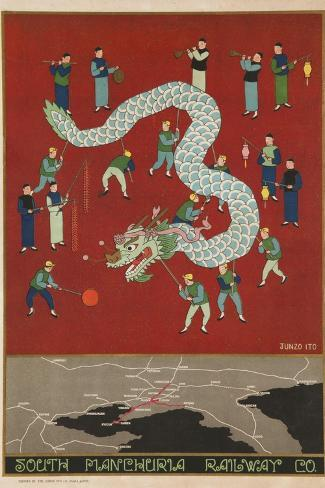 The South Manchuria Railway Travel Poster Dragon Float--Stretched Canvas Print