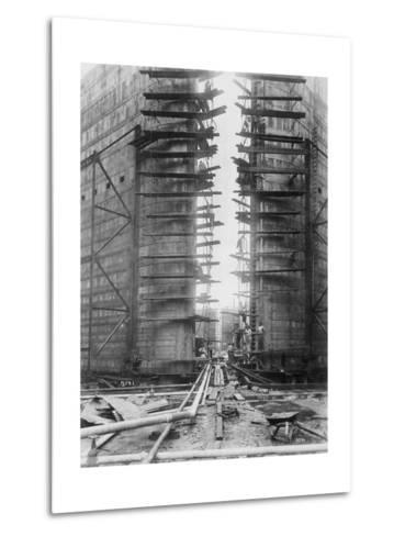 Worker on Panama Canal Lock--Metal Print