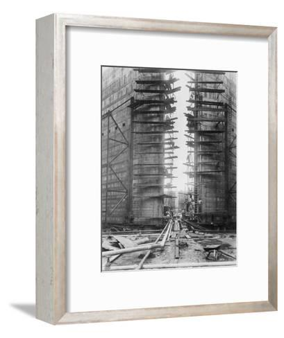 Worker on Panama Canal Lock--Framed Art Print