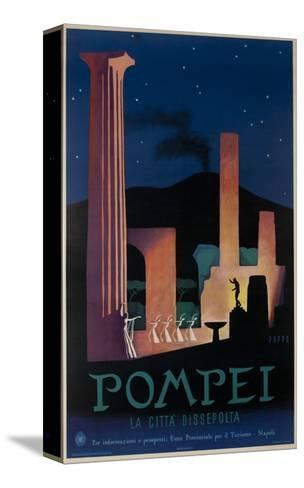 1952 Pompeii Italy Travel Poster--Stretched Canvas Print