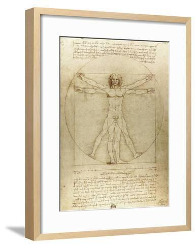 Vitruvian Man (Canon of Proportions)-Leonardo da Vinci-Framed Art Print