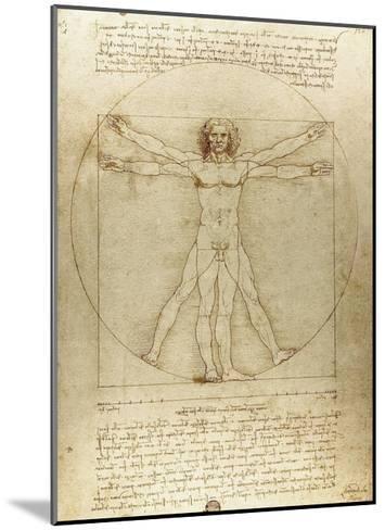 Vitruvian Man (Canon of Proportions)-Leonardo da Vinci-Mounted Giclee Print