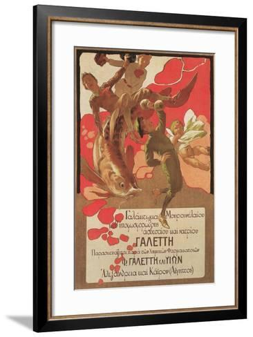 Greek Poster with Children and Large Fish--Framed Art Print