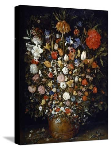 Flowers in a Wooden Vessel-Jan Brueghel the Elder-Stretched Canvas Print