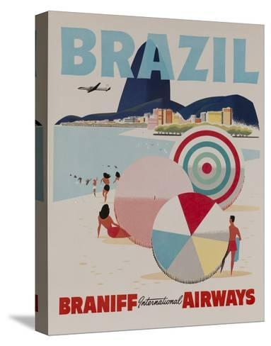 Braniff Airways Travel Poster, Brazil--Stretched Canvas Print