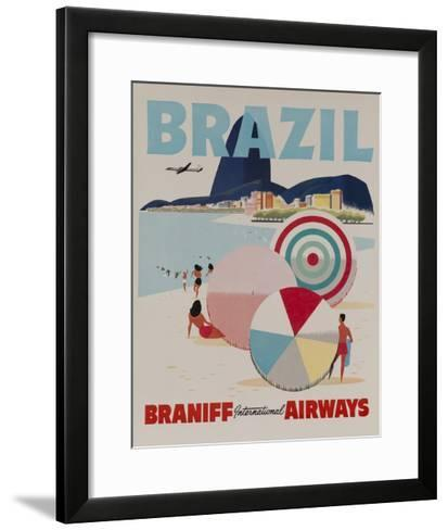 Braniff Airways Travel Poster, Brazil--Framed Art Print