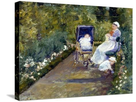 Children in a Garden (The Nurse)-Mary Cassatt-Stretched Canvas Print