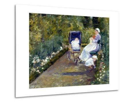 Children in a Garden (The Nurse)-Mary Cassatt-Metal Print