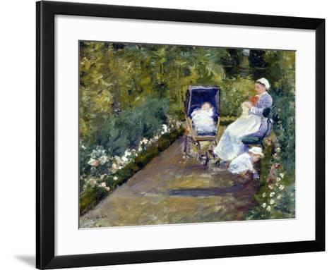 Children in a Garden (The Nurse)-Mary Cassatt-Framed Art Print