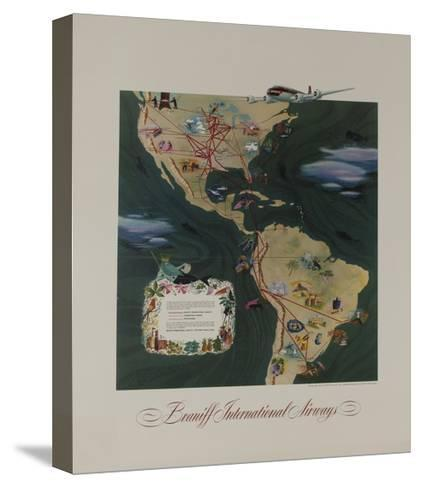 Braniff Airways Travel Poster, the Americas Route Map--Stretched Canvas Print
