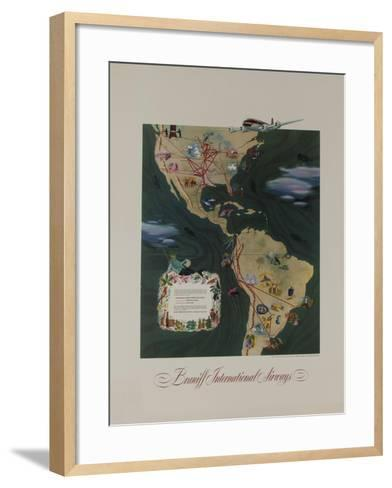 Braniff Airways Travel Poster, the Americas Route Map--Framed Art Print