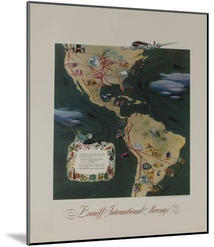 Braniff Airways Travel Poster, the Americas Route Map--Mounted Giclee Print