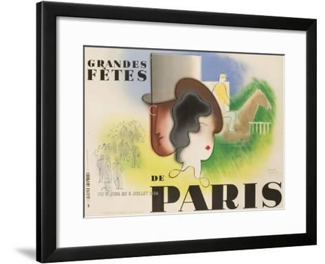 Grandes Fetes De Paris, 1934 French Travel and Tourism Poster--Framed Art Print