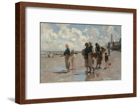 Fishing for Oysters at Cancale-John Singer Sargent-Framed Art Print