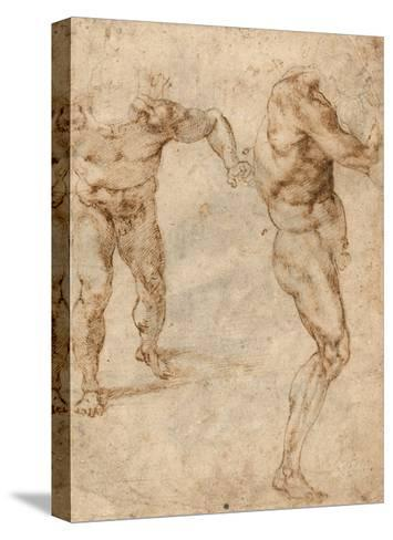 Two Nude Studies of a Man Storming Forward and Another Turning to the Right (Verso)-Michelangelo Buonarroti-Stretched Canvas Print