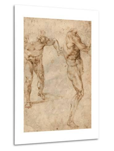 Two Nude Studies of a Man Storming Forward and Another Turning to the Right (Verso)-Michelangelo Buonarroti-Metal Print