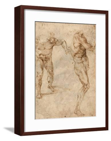 Two Nude Studies of a Man Storming Forward and Another Turning to the Right (Verso)-Michelangelo Buonarroti-Framed Art Print