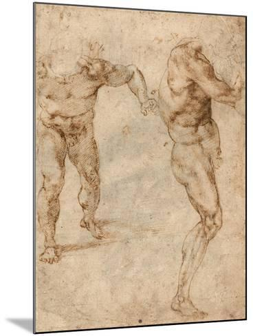 Two Nude Studies of a Man Storming Forward and Another Turning to the Right (Verso)-Michelangelo Buonarroti-Mounted Giclee Print