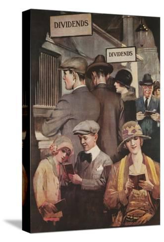 1920s American Banking Poster, Dividends--Stretched Canvas Print