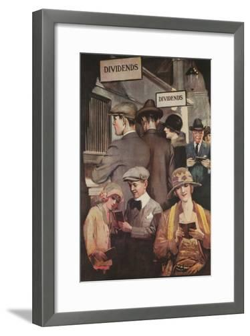1920s American Banking Poster, Dividends--Framed Art Print