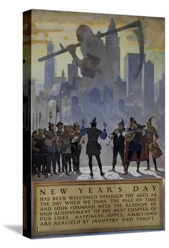 1920s American Banking Poster, New Year's Day--Stretched Canvas Print