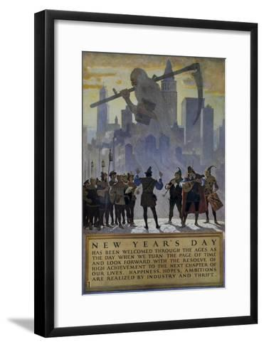 1920s American Banking Poster, New Year's Day--Framed Art Print