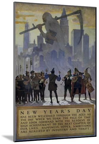 1920s American Banking Poster, New Year's Day--Mounted Giclee Print