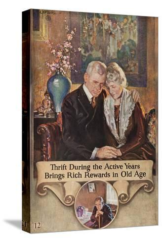 1920s American Banking Poster, Thrift During Active Years--Stretched Canvas Print