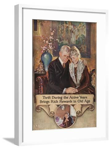 1920s American Banking Poster, Thrift During Active Years--Framed Art Print