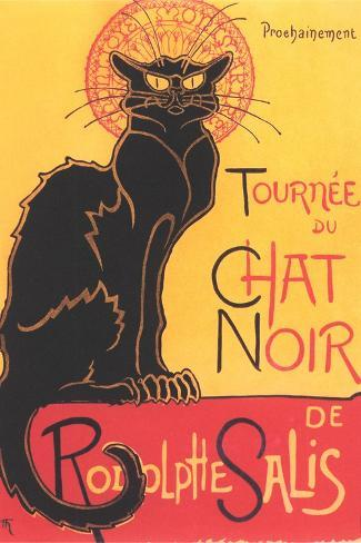 French Poster for Chat Noir Cabaret--Stretched Canvas Print