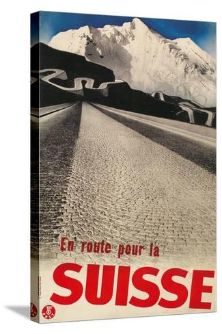 Swiss Travel Poster, Road to Alps--Stretched Canvas Print