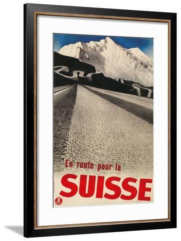 Swiss Travel Poster, Road to Alps--Framed Art Print