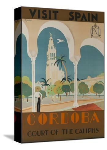 Visit Spain, Cordoba Court of the Caliphs Spanish Travel Poster--Stretched Canvas Print